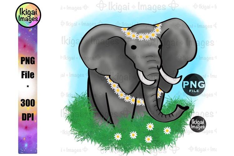 Boho Elephant Sublimation, Daisy Flowers, Animal PNG