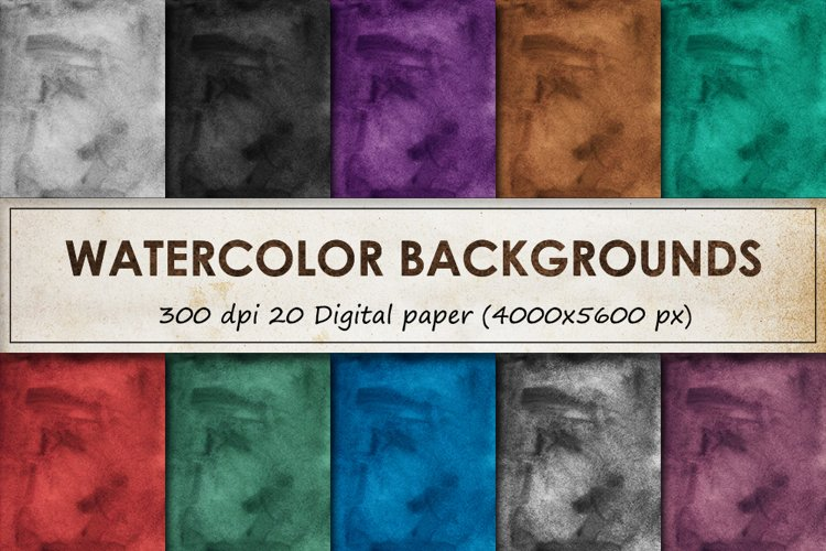 Watercolor backgrounds - 20 Vintage digital paper collection example image 1