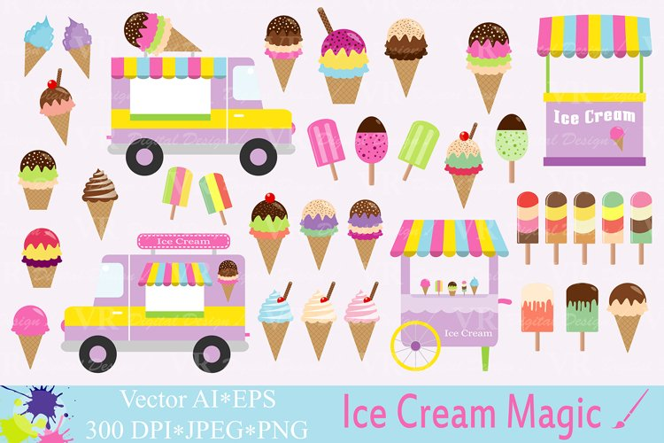 Ice cream Clipart / Summer graphics / Ice cream truck, stand, cones and popsicles vector illustrations