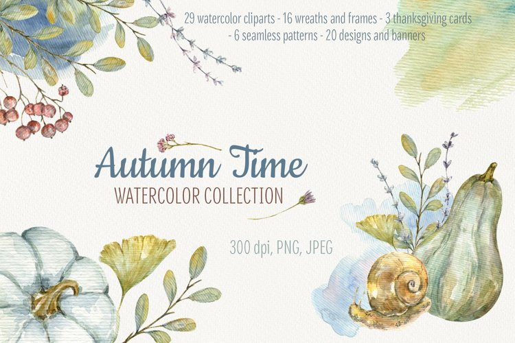 Autumn Time. Big Watercolor Collection example image 1