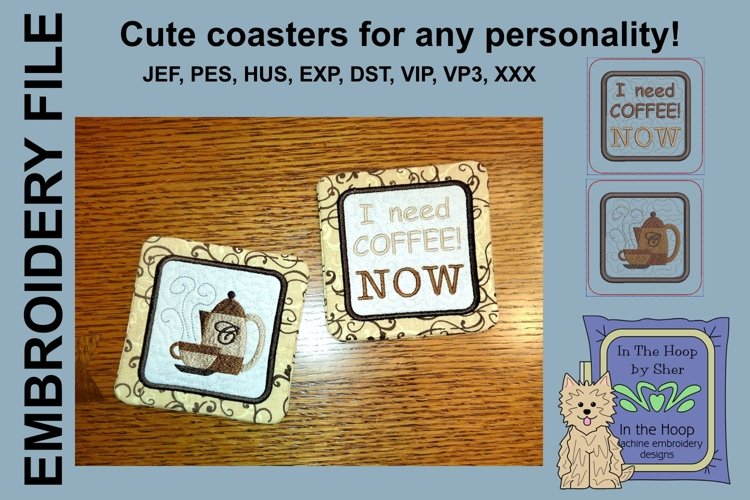Coffee Coasters - 4 x 4 and 5 x 7 Hoops