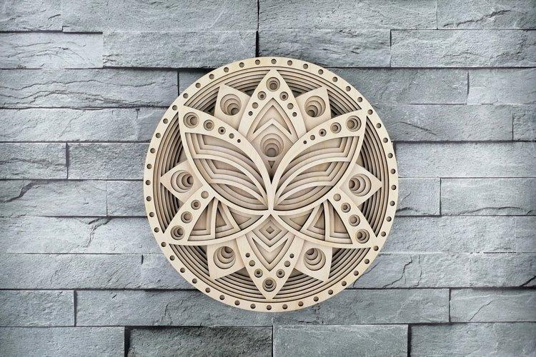 Layered Mandala SVG, Laser cut file Mandala, 3D Lotus example image 1