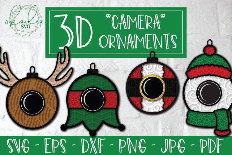 3D Santa Cam Ornament SVG, Christmas Camera Bundle, Elf DXF example image 1