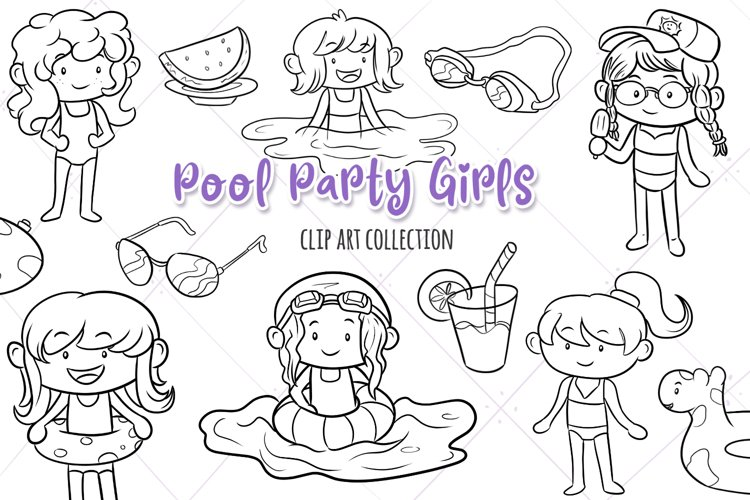 Pool Party Girls Digital Stamps example image 1
