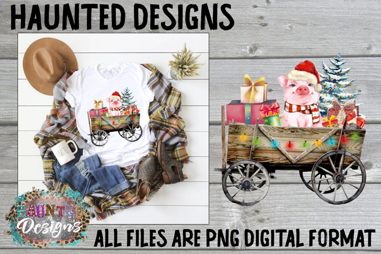 Christmas Pig Watercolor Sublimation Clip Art example image 1