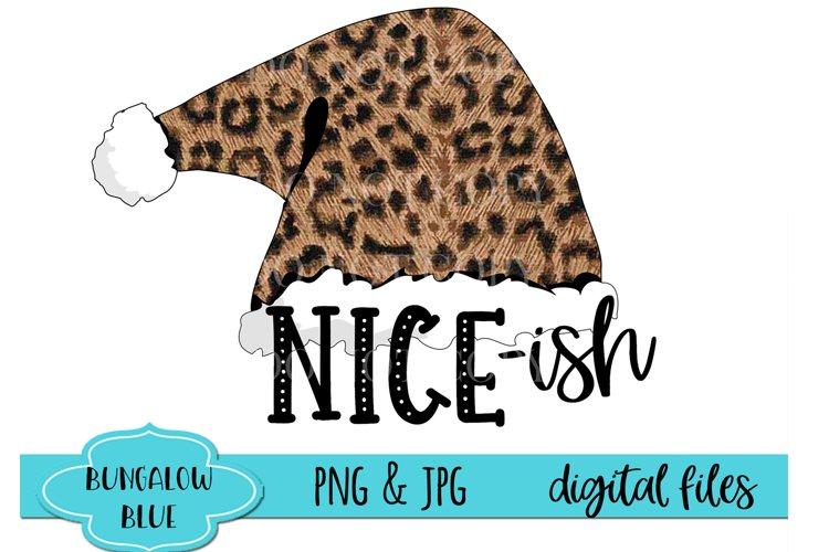Nice-ish Leopard Santa Hat Funny Christmast Digital Design