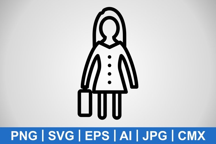 Vector Women With Briefcase Icon example image 1