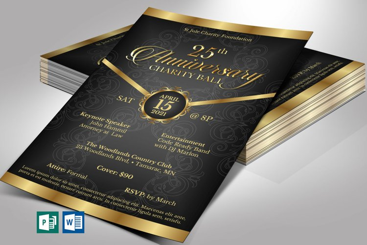 Black Gold Anniversary Gala Flyer Word Publisher