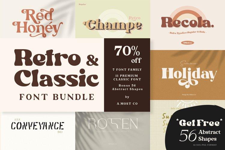 Retro & Classic Font Bundle - Bonus Abstract Shapes
