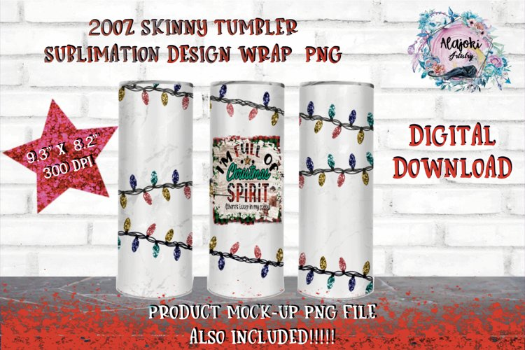 Christmas Lights | Sublimation | Tumbler Design | example image 1
