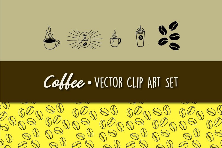Coffee Themed Vector Clip Art Set example image 1