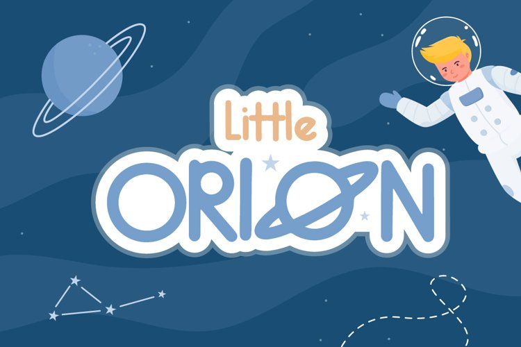 Little Orion | Cute Space Themed Font with Illustration example image 1