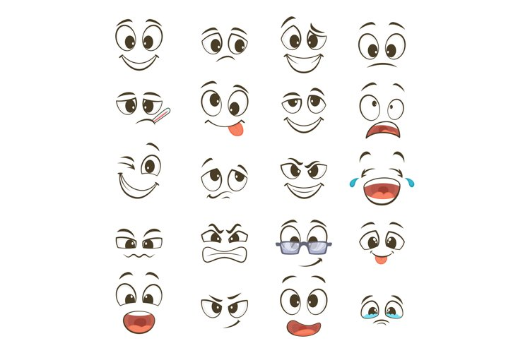 Cartoon happy faces with different expressions. Vector illus example image 1