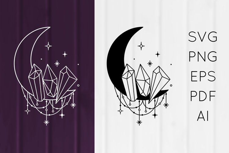 Boho Mystical Moon Dreamcatcher, Crystals SVG, PNG, EPS