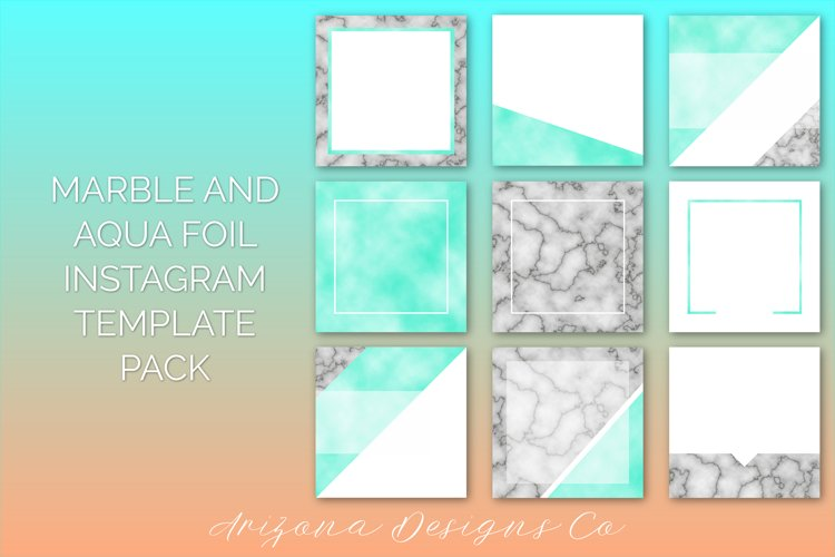 Marble and Aqua Foil Instagram Template Pack example image 1
