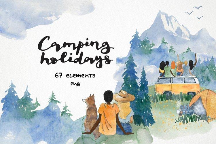 watercolor landscape camping clipart travel camper clip art