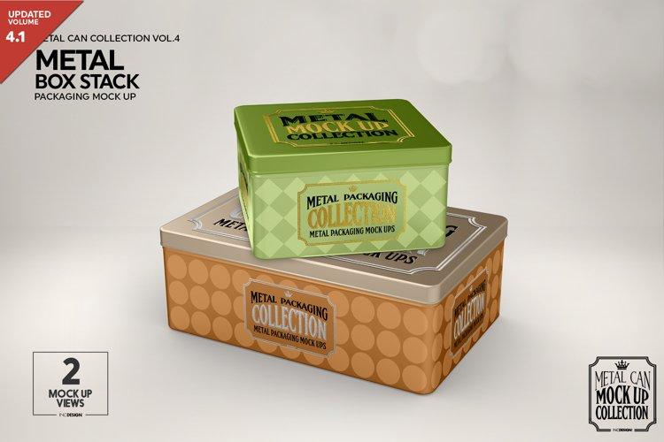 Metal Box Stack Packaging Mockup