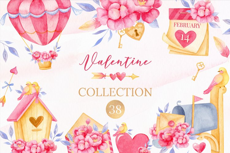 Valentine's day clipart, Bird clipart, Watercolor clipart example image 1
