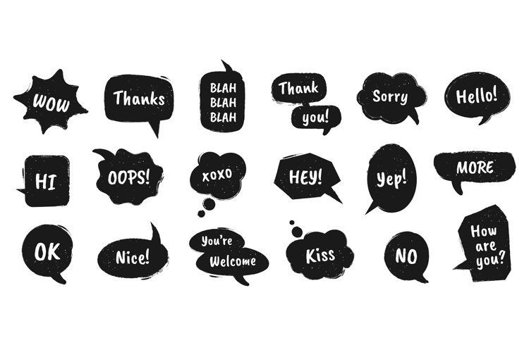 Textured speech bubble. Doodle drawn balloons with chat dial example image 1