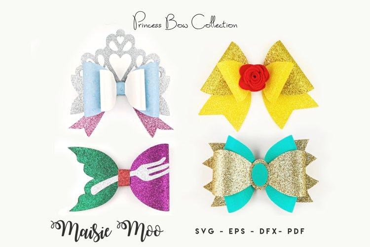 Princess Bow SVG, Crown Bow Template SVG, Tiara Hair Bow, example image 1