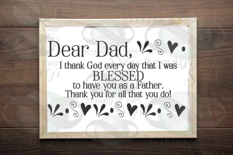 Fathers Day svg & png, Dear Dad svg, Christian Dad svg,
