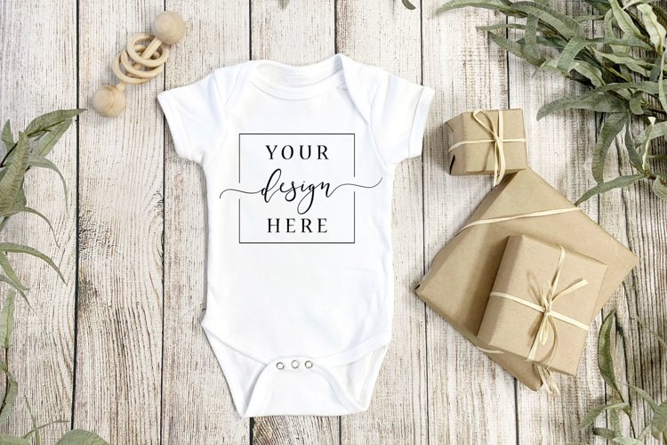 Gender Neutral Onesie Mockup, Rustic Farmhouse style Plants