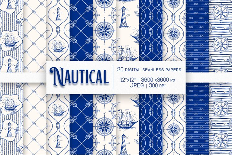 10 Nautical Digital Papers, Seamless Patterns