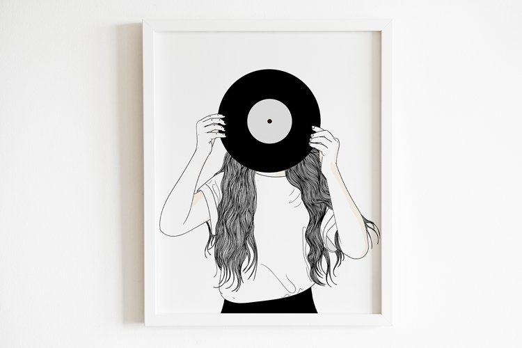 Art Print | Woman with an old sheet of music in her hand