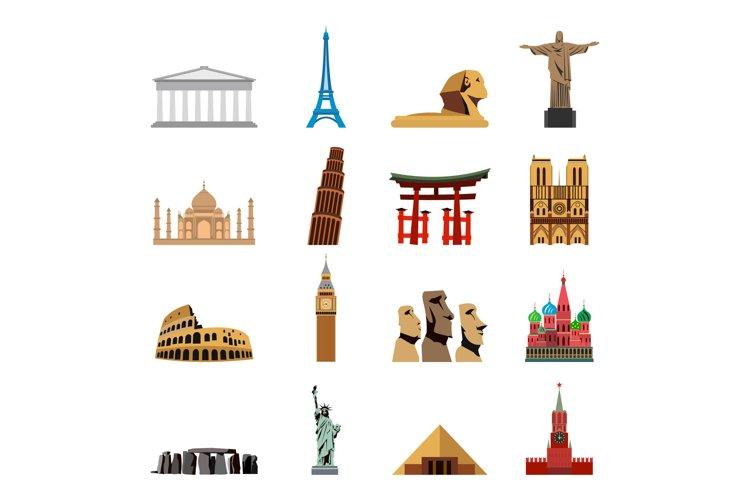 World landmarks flat icons example image 1