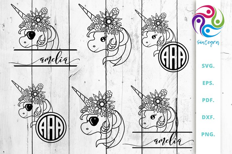 Floral Unicorn Mini Bundle Svg vol 1| Unicorn Monogram example image 1