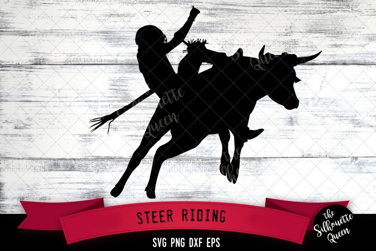 Steer Riding svg file, rodeo cowboy western svg cut file example image 1