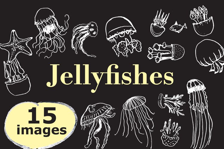 Jellifishes, hand-drawn vector set