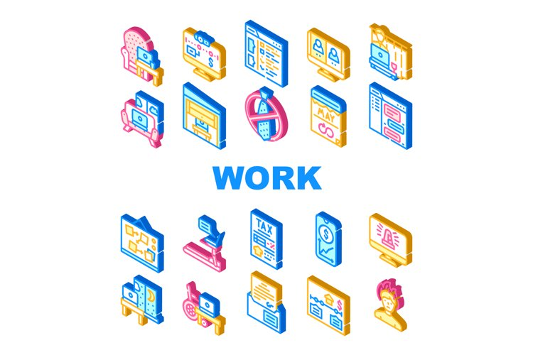 Remote Work From Home Collection Icons Set Vector example image 1