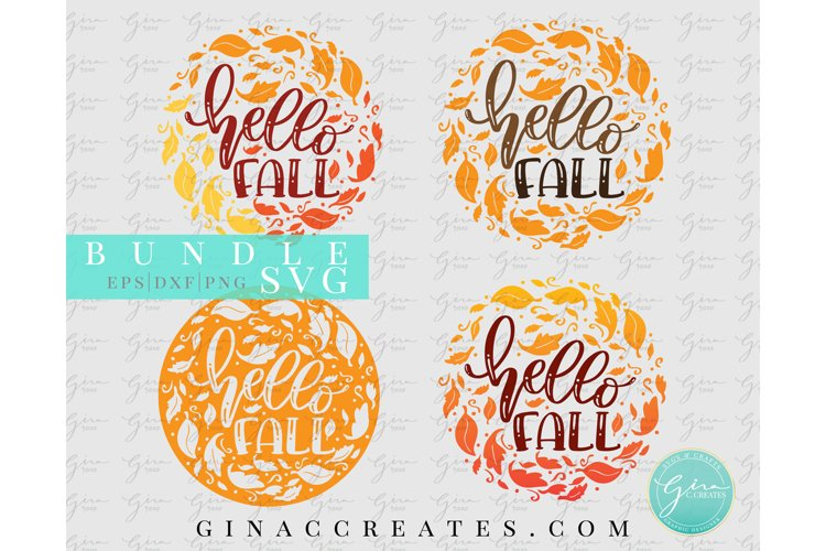 Hello Fall SVG Bundle, Autumn Leaves SVG example image 1
