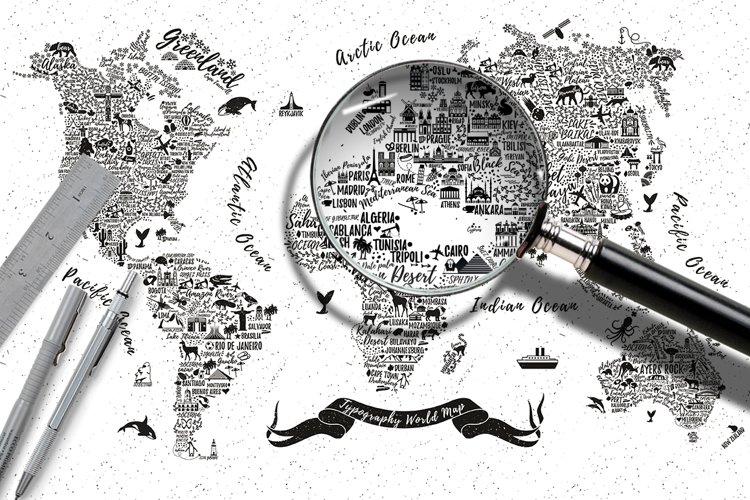 Typography World Map. example image 1