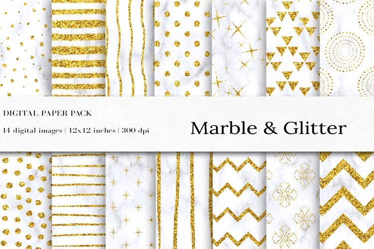 Glitter Marble Seamless Pattern, Glitter Digital Papers example image 1