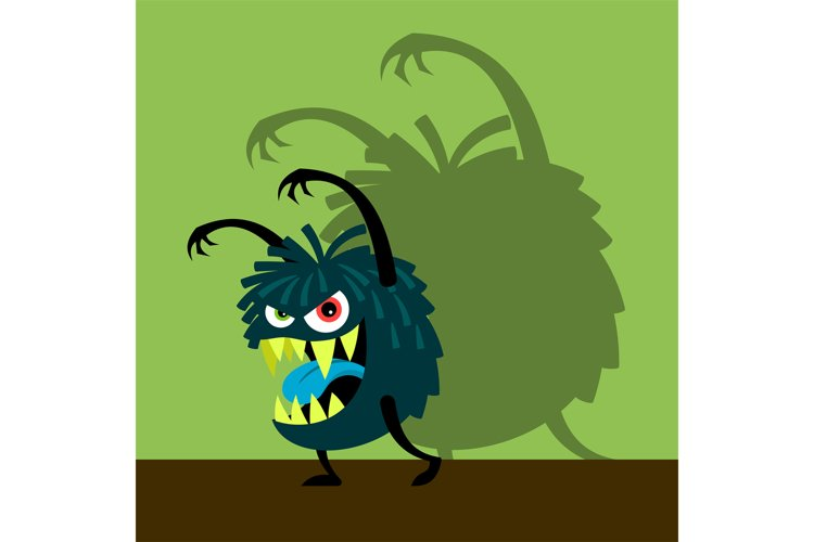 Scary blue monster with shadow example image 1