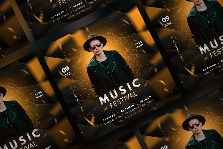 Music Party Social Media Post Template. Vol 7