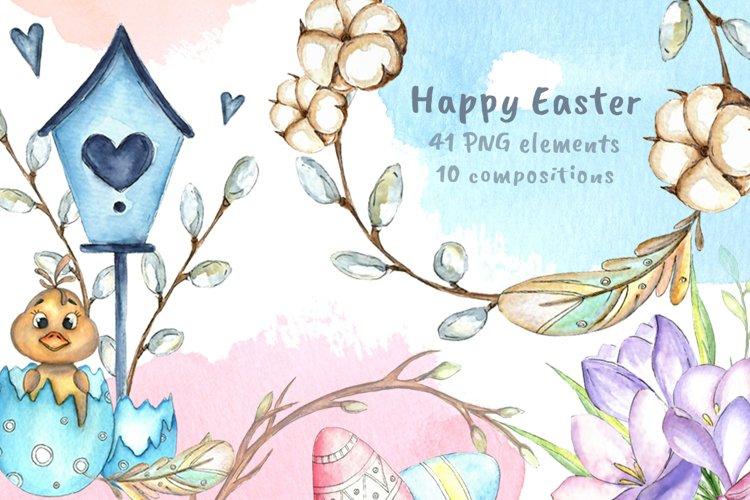 Happy Easter watercolor bundle