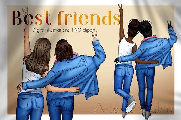 Best Friends Clipart, Besties, Girls Art, Denim Girl clipart