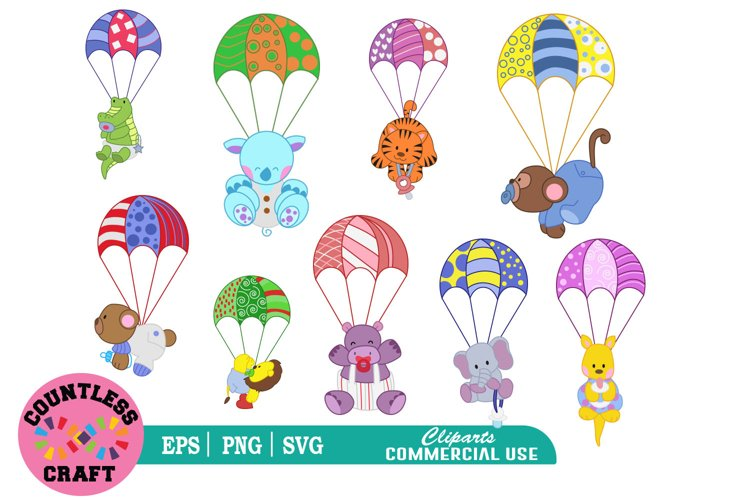 Cute flying parachute Animals clipart, Animals clipart example image 1