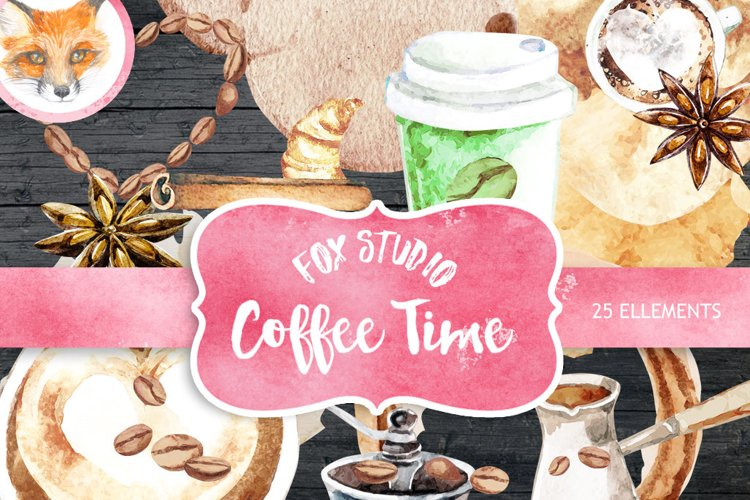 Coffee clipart, Cafe clipart, Food Watercolor clipart example image 1