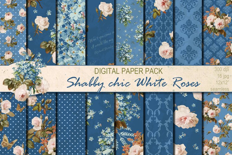 Shabby chic roses seamless patterns example image 1
