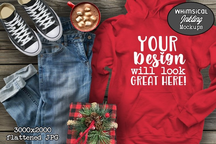 Red Hoodie And Jeans Christmas Mockup example image 1
