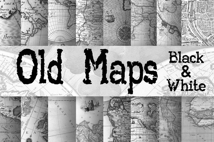 Old Maps Digital Paper in Black and White