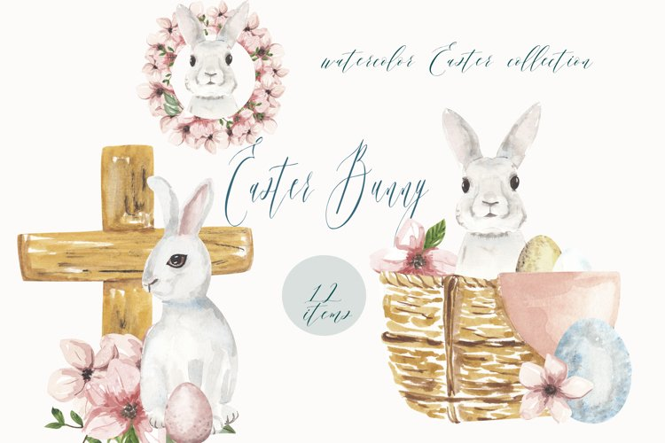 Watercolor Easter clipart, Cute Easter Bunny clipart example image 1