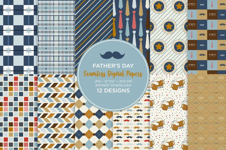 Fathers Day Seamless Digital Papers