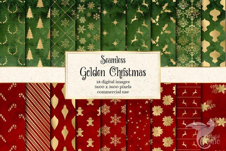 Golden Christmas Digital Paper example image 1