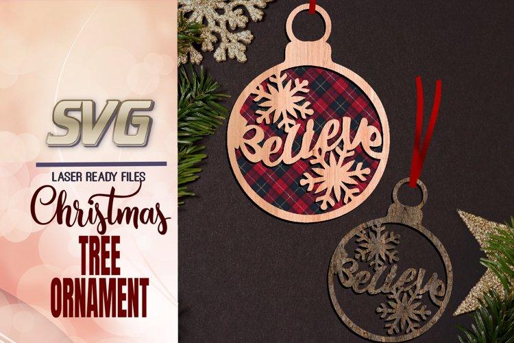 Snowflakes Christmas Ornament SVG Glowforge Files example image 1