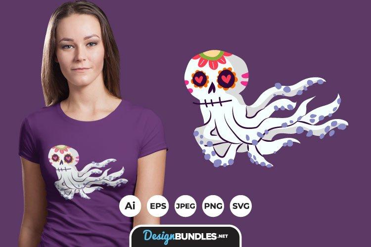 Sugar Skull Octopus for T-Shirt Design example image 1